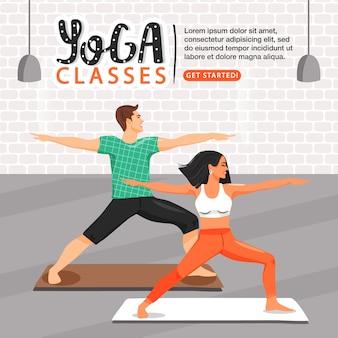 Plantilla de estilo de vida saludable y yoga.