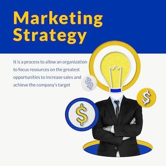 Plantilla de estrategia de marketing editable con medios mezclados de empresario y bombilla