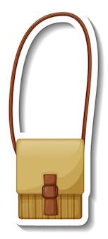 Una plantilla de etiqueta con un bolso bandolera de mujer aislado