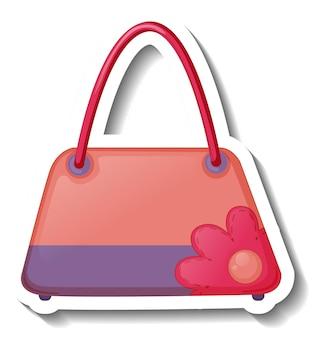 Una plantilla de etiqueta con un bolso de mujer aislado