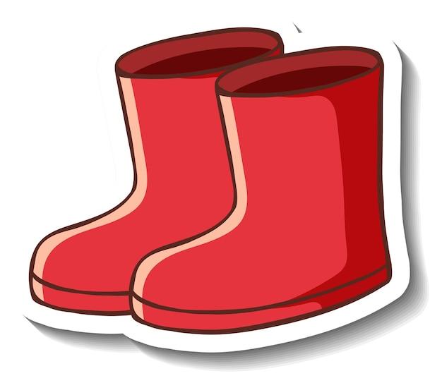 Una plantilla de etiqueta con botas rojas aisladas