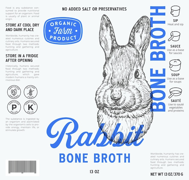 Plantilla de etiqueta de caldo de hueso de carne vector abstracto diseño de diseño de envasado de alimentos tipografía moderna con h ...