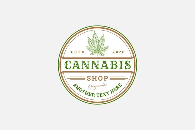 Plantilla de etiqueta de cannabis insignia rústica