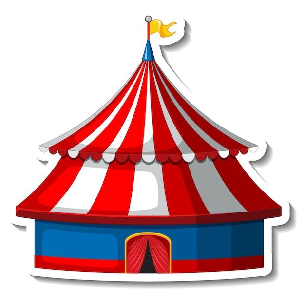 Plantilla de etiqueta con carpa de circo aislada