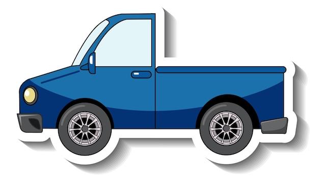 Plantilla de etiqueta con un coche pick up azul aislado