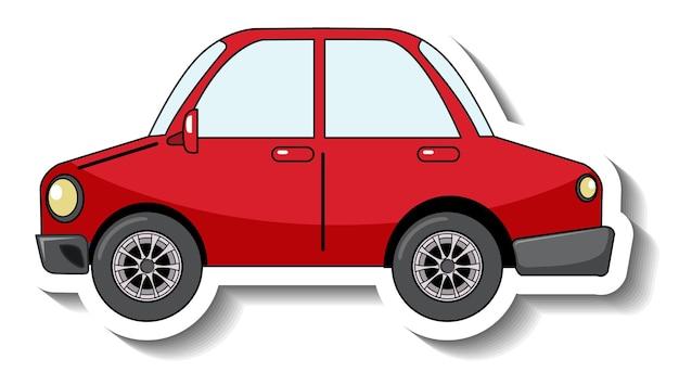 Plantilla de etiqueta con un coche rojo aislado