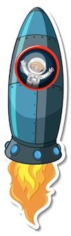 Plantilla de etiqueta con cohete aislado