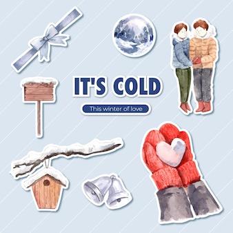 Plantilla de etiqueta con diseño de concepto de amor de invierno para ilustración de vector de acuarela aislado de dibujos animados de personaje