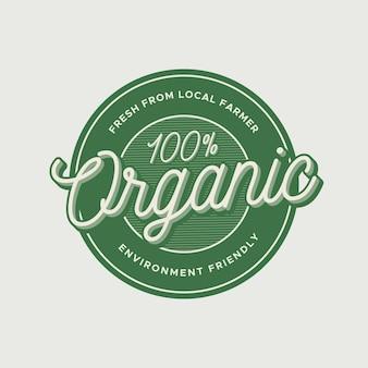 Plantilla de etiqueta y distintivo orgánico vintage con efecto de estilo de texto