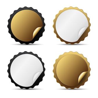 La plantilla de etiqueta dorada se puede utilizar como mejor opción, satisfacción, signo de mejor vendedor.