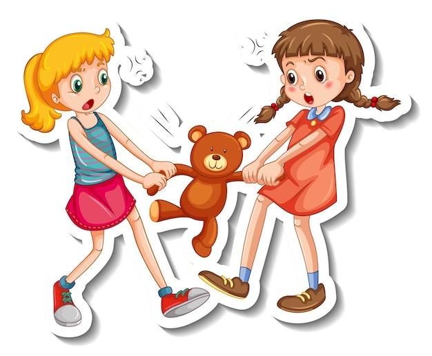 Plantilla de etiqueta con dos niñas peleando por un oso de peluche sobre fondo blanco.