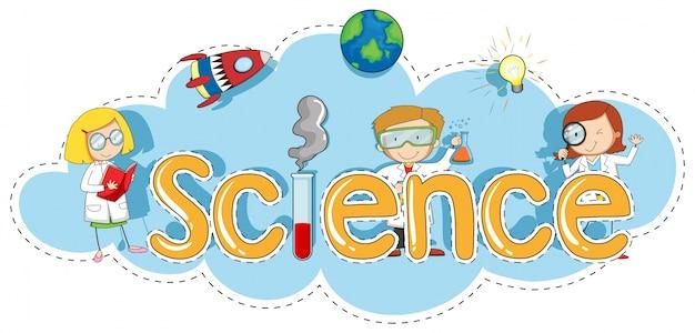 Plantilla de etiqueta engomada para ciencia de la palabra