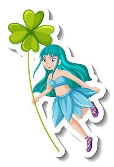 Una plantilla de etiqueta con una hermosa hada sosteniendo un personaje de dibujos animados de hoja de trébol