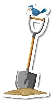 Plantilla de etiqueta con una herramienta de jardinería pala aislada