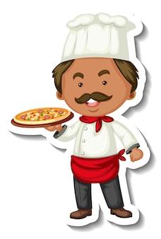 Plantilla de etiqueta con un hombre chef sostiene bandeja de pizza aislada