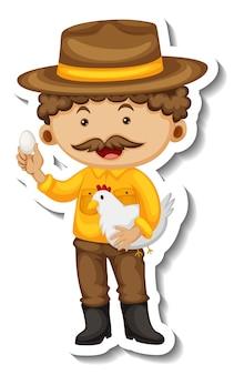 Plantilla de etiqueta con un hombre granjero sosteniendo un pollo aislado