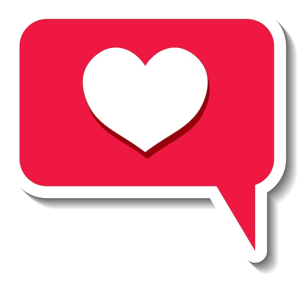 Una plantilla de etiqueta con el icono de redes sociales de corazón aislado