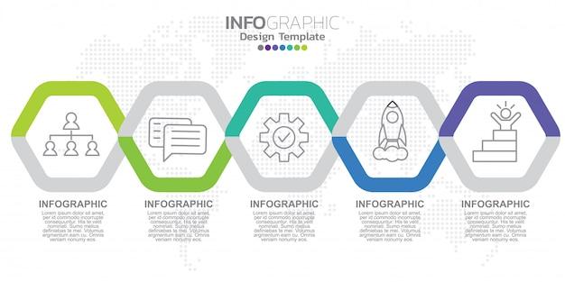 Plantilla de etiqueta de infografía con iconos y cinco opciones o pasos.