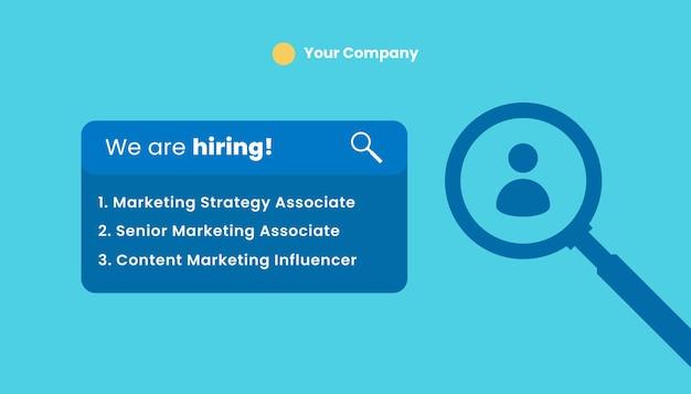 Plantilla de etiqueta de información de diseño de vacantes abiertas de contratación de contratación. estamos contratando a unirse a nuestra plantilla de banner de anuncio de equipo.