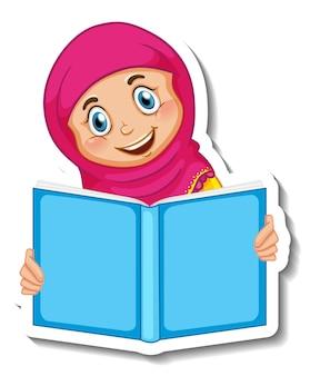 Plantilla de etiqueta con un libro de lectura de niña musulmana aislado