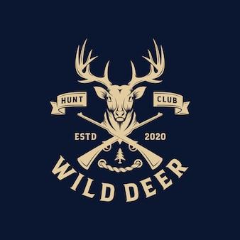 Plantilla de etiqueta y logotipo de ciervo salvaje vintage