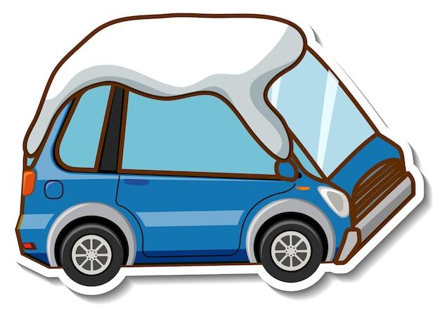 Una plantilla de etiqueta con mini coche cubierto de nieve aislado