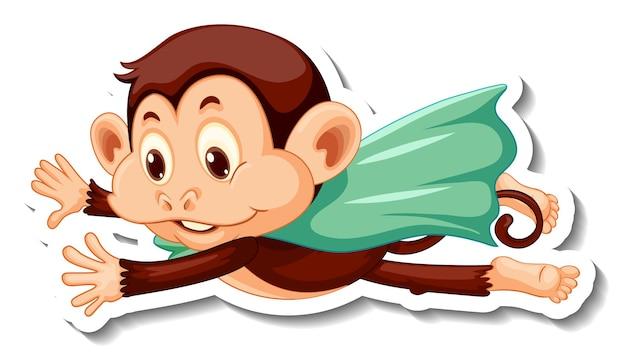 Plantilla de etiqueta con un mono superhéroe sobre fondo blanco