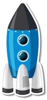 Plantilla de etiqueta con nave espacial aislada