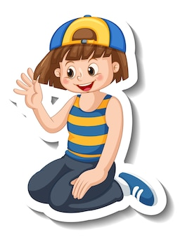 Plantilla de etiqueta con una niña feliz lleva personaje de dibujos animados de gorra aislado
