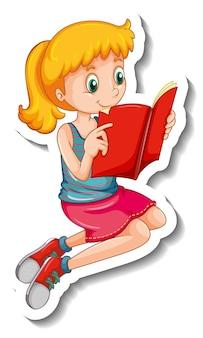 Plantilla de etiqueta con una niña leyendo un libro aislado
