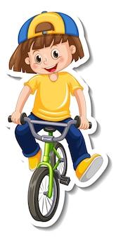 Plantilla de etiqueta con una niña monta una bicicleta aislada