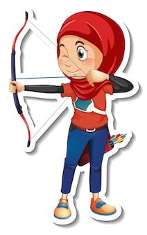 Una plantilla de etiqueta con una niña musulmana sosteniendo arquero aislado