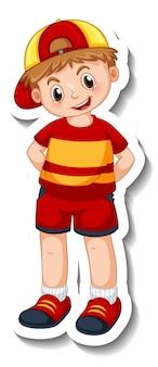 Plantilla de etiqueta con un niño feliz en posición de pie personaje de dibujos animados aislado