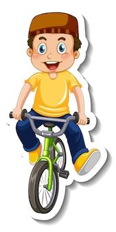 Plantilla de etiqueta con un niño musulmán andar en bicicleta aislado