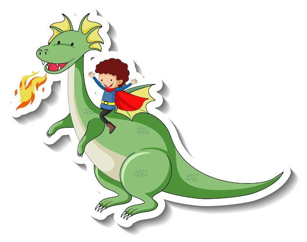 Plantilla de etiqueta con niño superhéroe montando un personaje de dibujos animados de dragón de fantasía