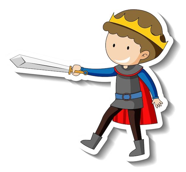 Plantilla de etiqueta con un niño vestido con traje de rey aislado