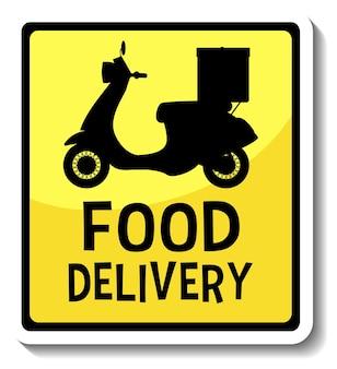 Una plantilla de etiqueta con pancarta de entrega de alimentos aislada