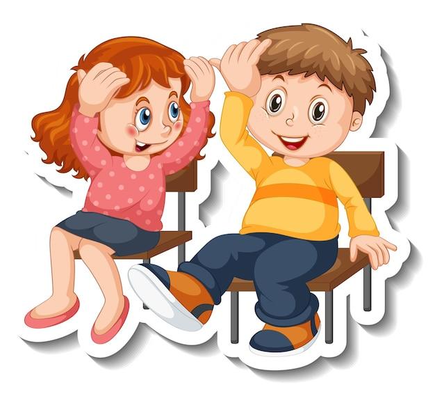 Plantilla de etiqueta con par de niños estudiantes personaje de dibujos animados aislado