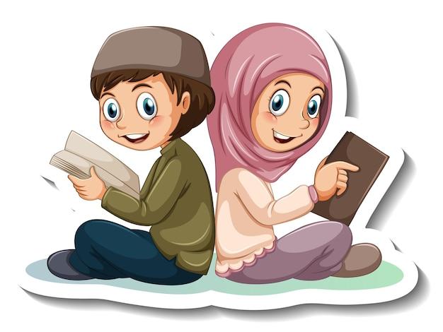 Plantilla de etiqueta con par de personaje de dibujos animados de niños musulmanes aislado