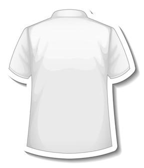 Una plantilla de etiqueta con la parte posterior de la camisa polo blanca aislada