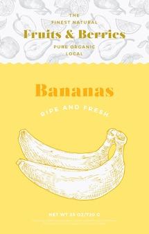 Plantilla de etiqueta de patrón de frutas y bayas. diseño de envases de vectores abstractos. banner de tipografía moderna con fondo de silueta de boceto de plátanos dibujados a mano. aislado.