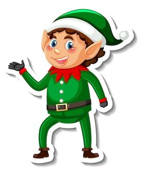 Plantilla de etiqueta con el pequeño personaje de dibujos animados de elfo aislado