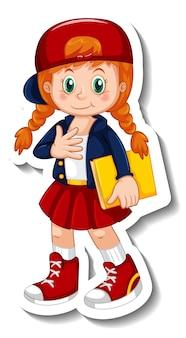 Plantilla de etiqueta con un personaje de dibujos animados de chica estudiante aislado