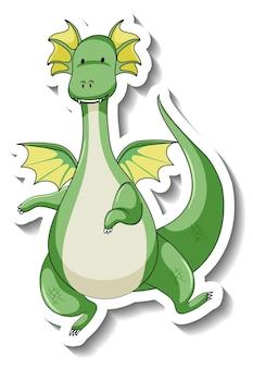 Plantilla de etiqueta con personaje de dibujos animados de dragón de fantasía