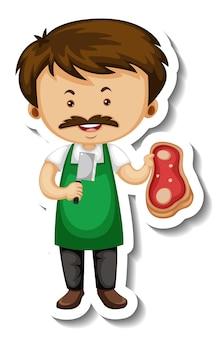 Plantilla de etiqueta con un personaje de dibujos animados de hombre vendedor de carne aislado