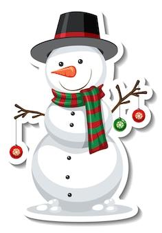 Plantilla de etiqueta con personaje de dibujos animados de muñeco de nieve aislado