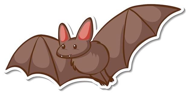 Una plantilla de etiqueta con un personaje de dibujos animados de murciélago aislado