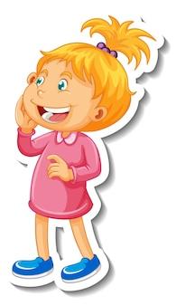 Plantilla de etiqueta con un personaje de dibujos animados de niña aislado