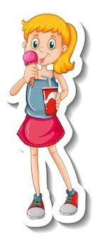 Plantilla de etiqueta con un personaje de dibujos animados de niña comiendo helado aislado