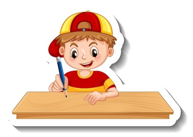 Plantilla de etiqueta con un personaje de dibujos animados de niño aislado